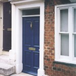 Victorian style four panel front door in terraced town house
