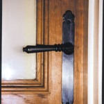 Lever handle on interior oak door