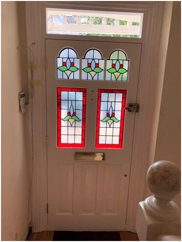 timber front door inside